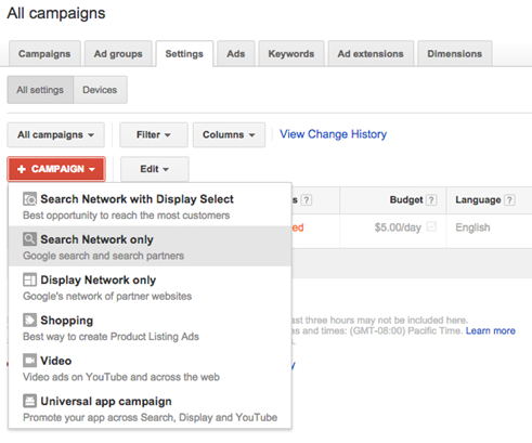 google adwords search network options