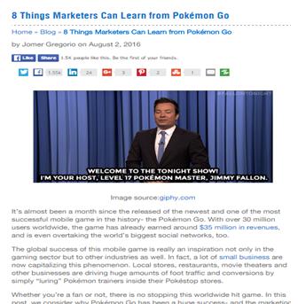 pokomen go - newsjacking